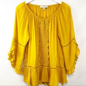 Fever Mustard Yellow boho peasant top sz M